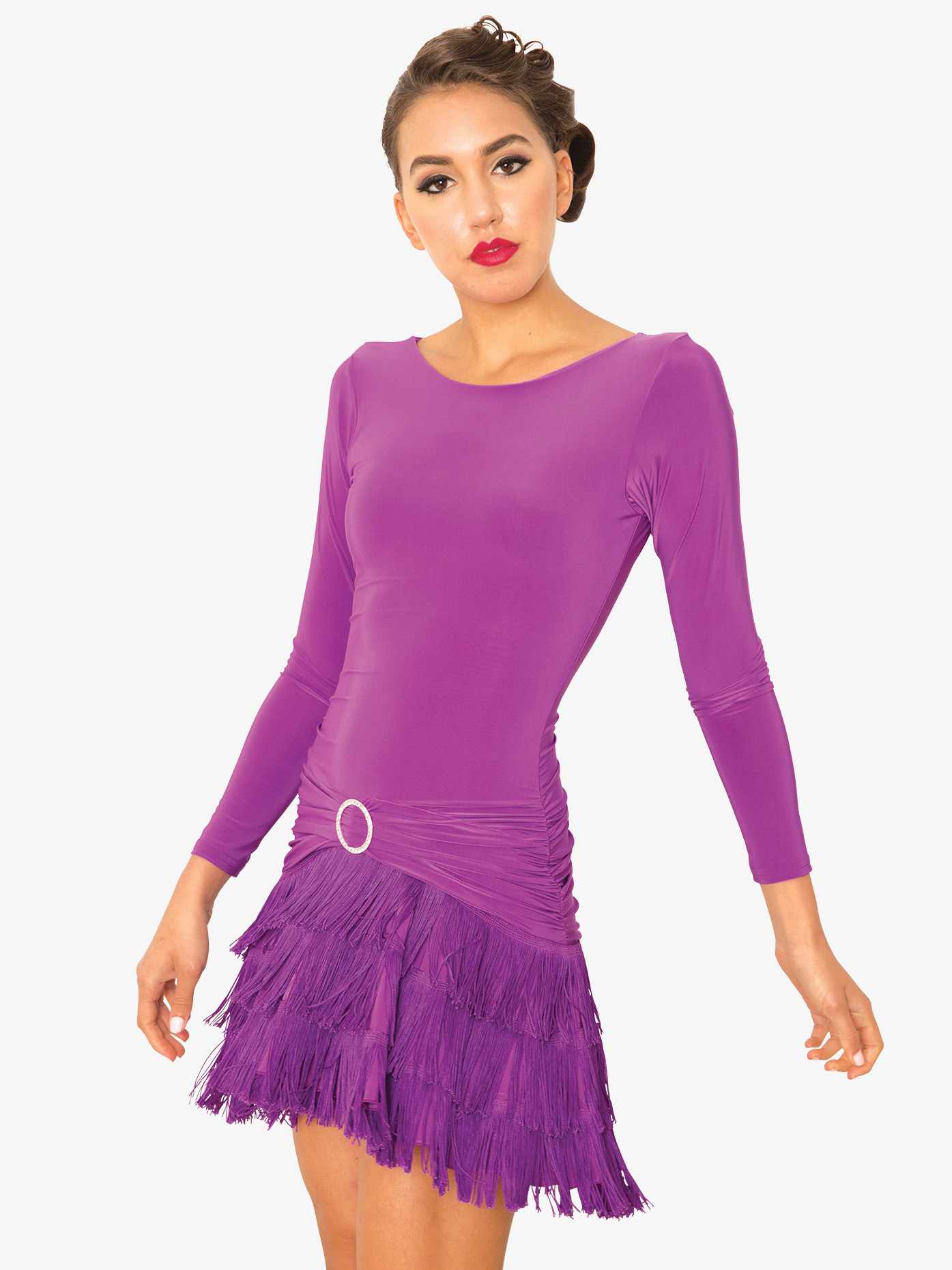 d5b51f4f28ed8 Womens Fringe Long Sleeve Ballroom Dance Dress - Style No D812. Loading zoom