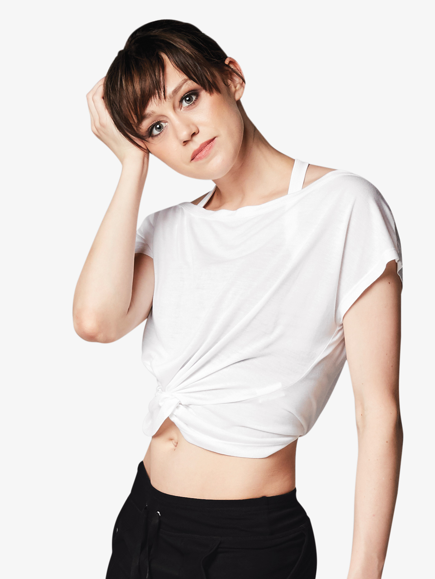 518fddc3743e9 Womens Knotted Front Cap Sleeve Dance Crop Top - Style No FT5060. Loading  zoom
