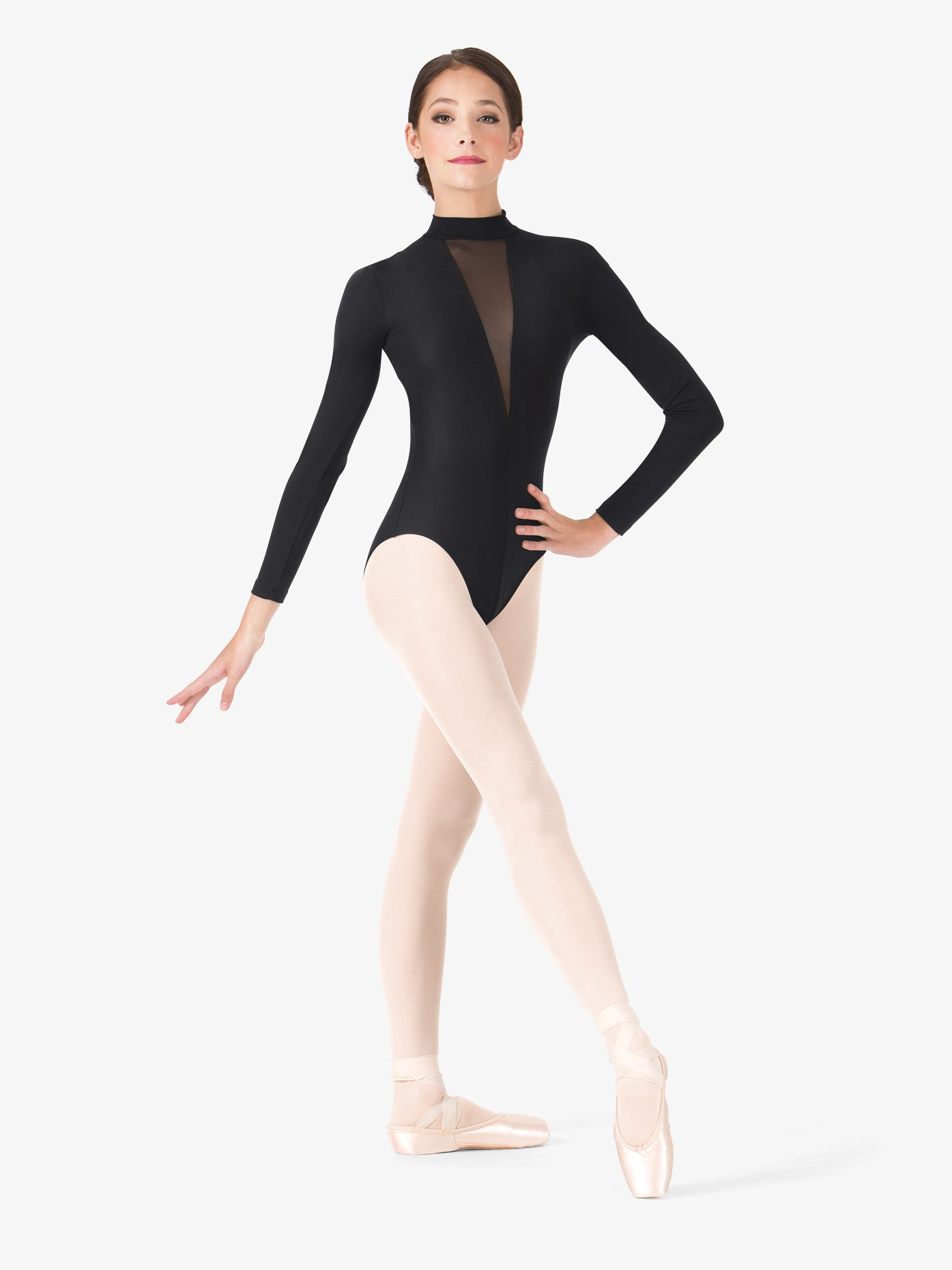 "SALE: ""Ilona"" Deep V Mesh Long Sleeve Leotard 