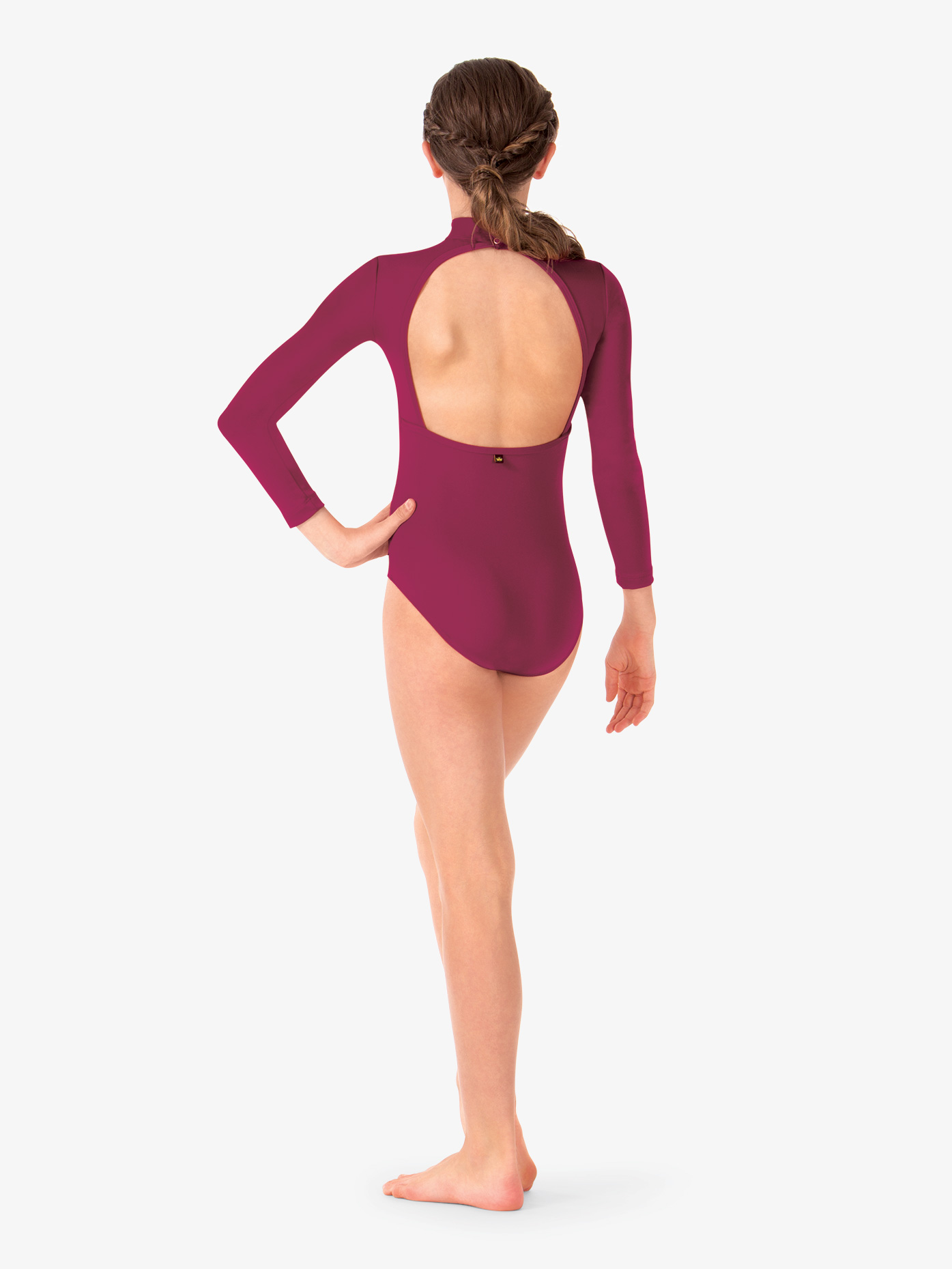 """Ilona"" Deep V Mesh Long Sleeve Leotard 
