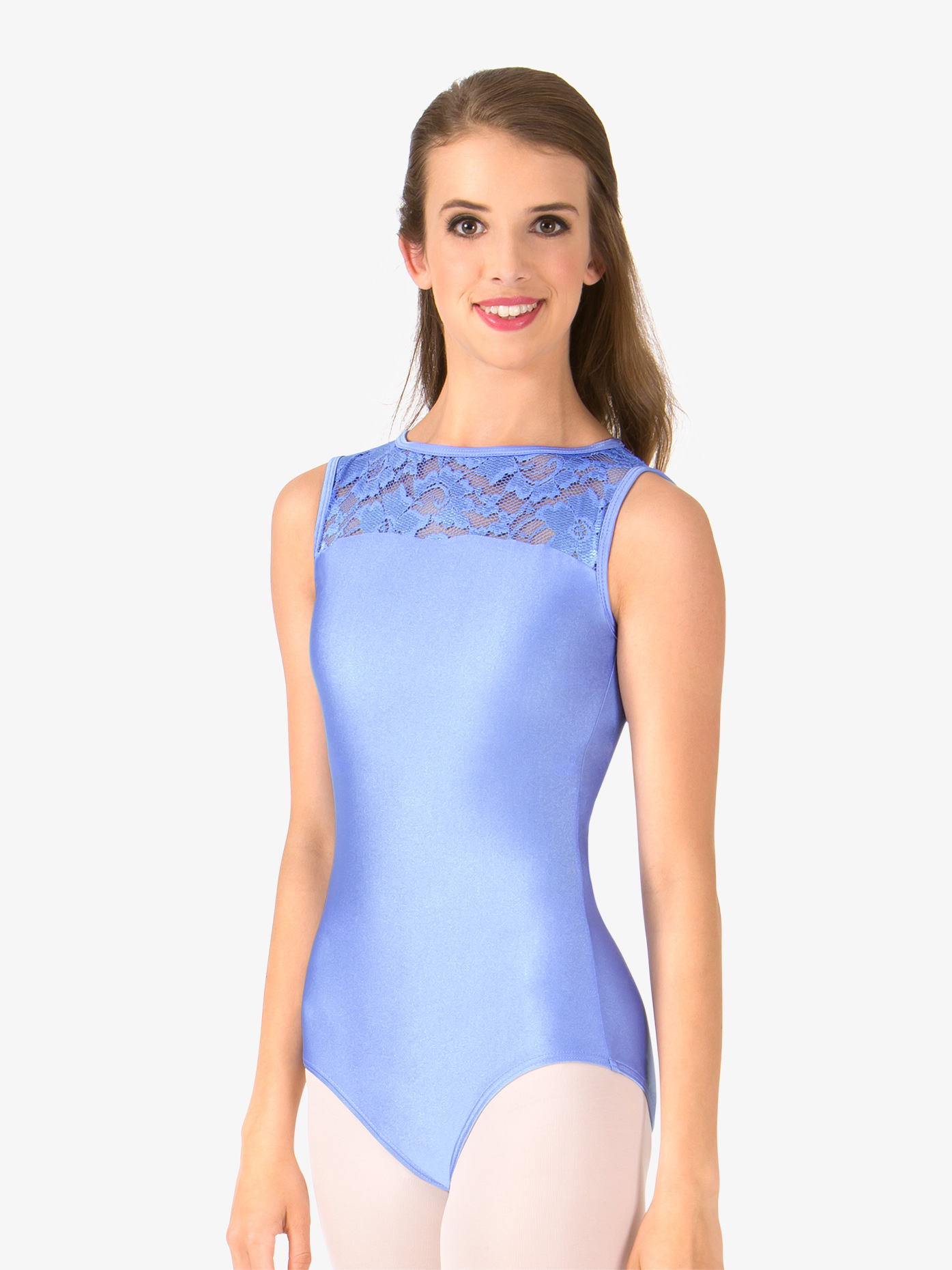 ec2a295b0 Adult Emballe Lace Boatneck Tank Leotard - Style No N7264. Loading zoom