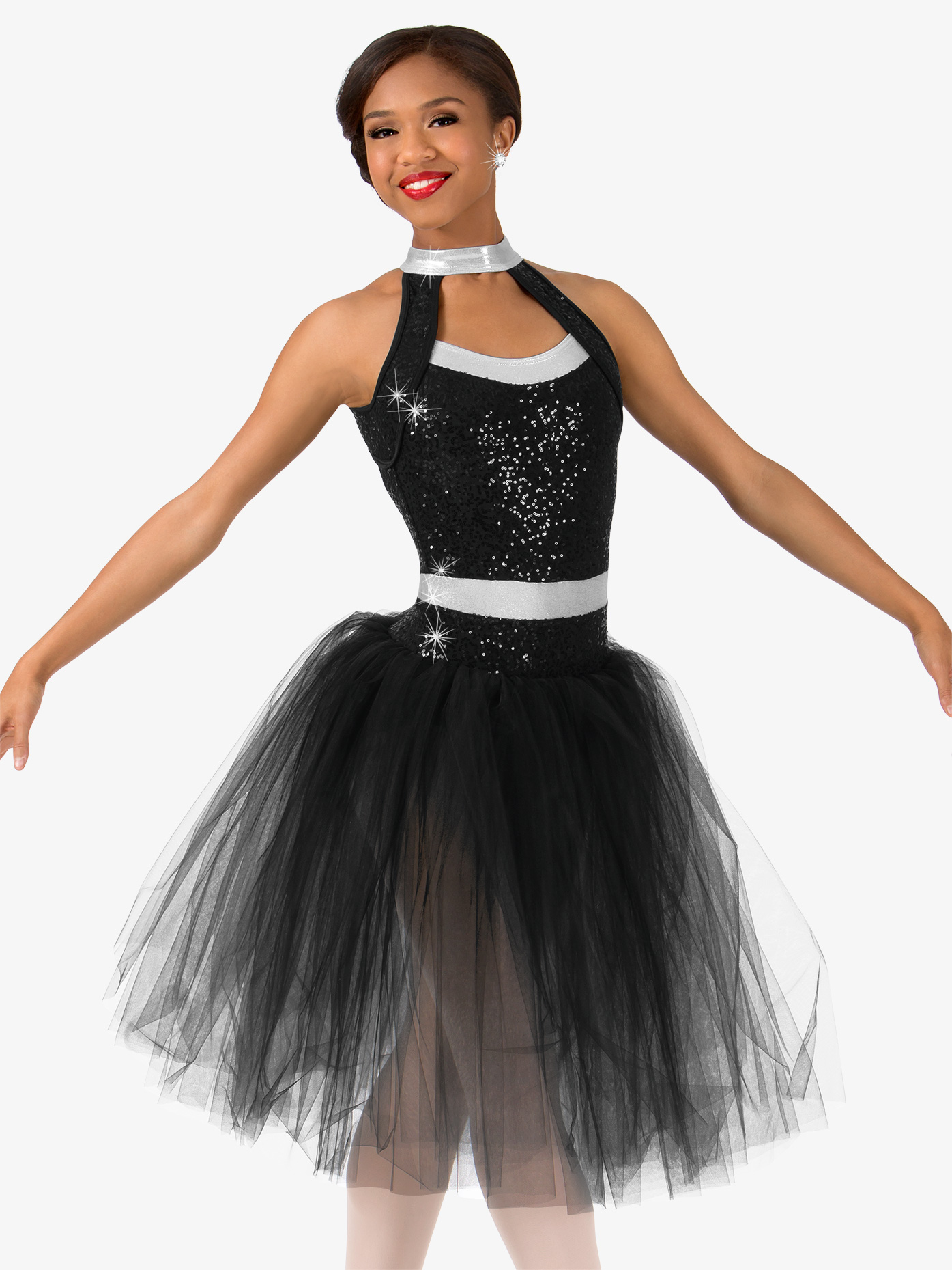 Womens Plus Size Sequin Romantic Tutu Performance Dress