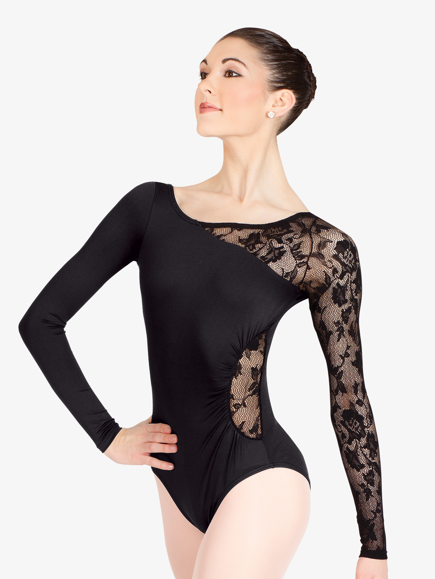 6e0f1662e3fc Adult Long Sleeve Leotard with Lace Sleeve and Insert - Style No N8650. Loading  zoom
