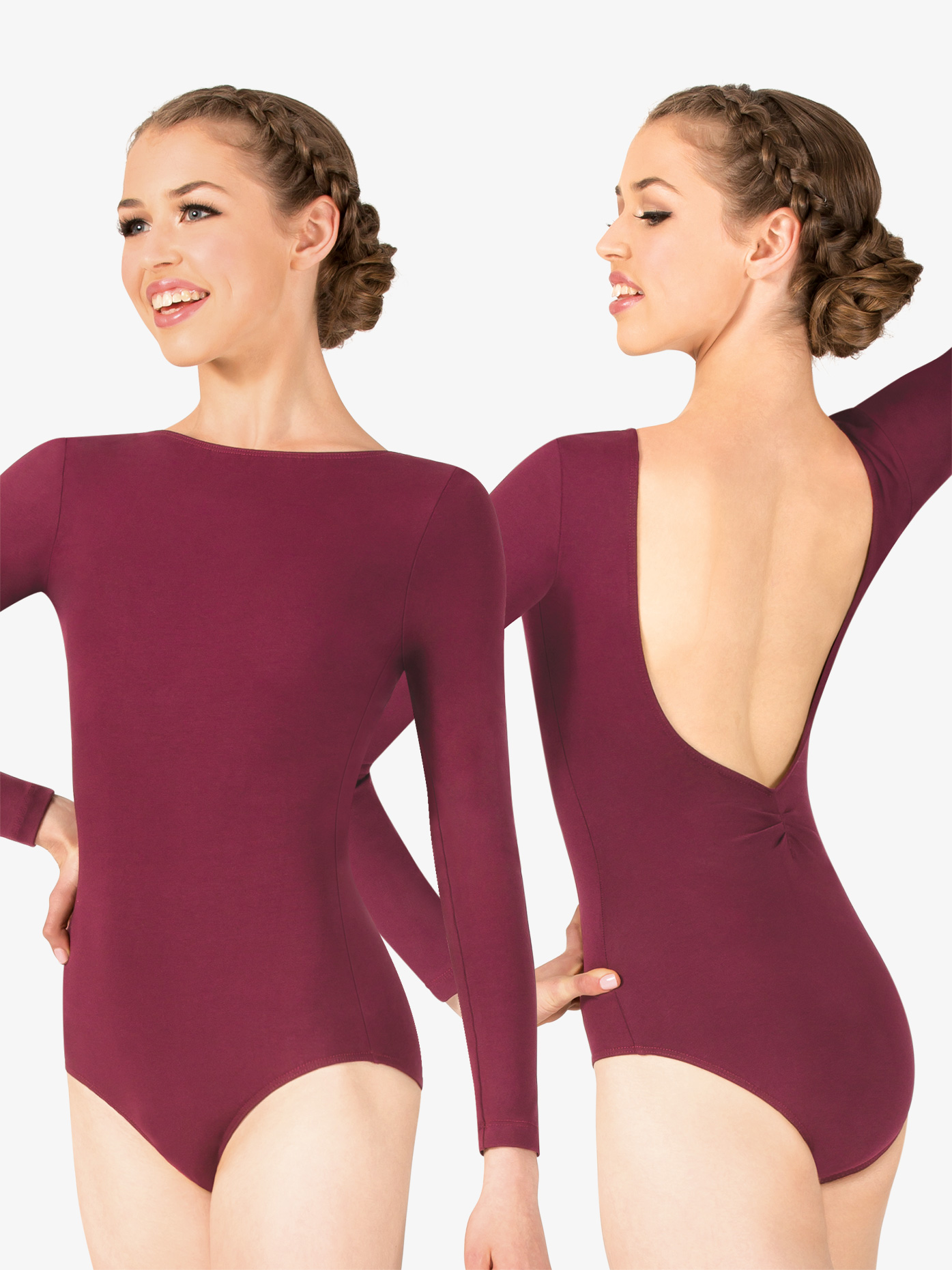 f46ed380ea14 Studio Collection Womens Cotton Pinch Back Long Sleeve Leotard - Style No  N9151. Loading zoom