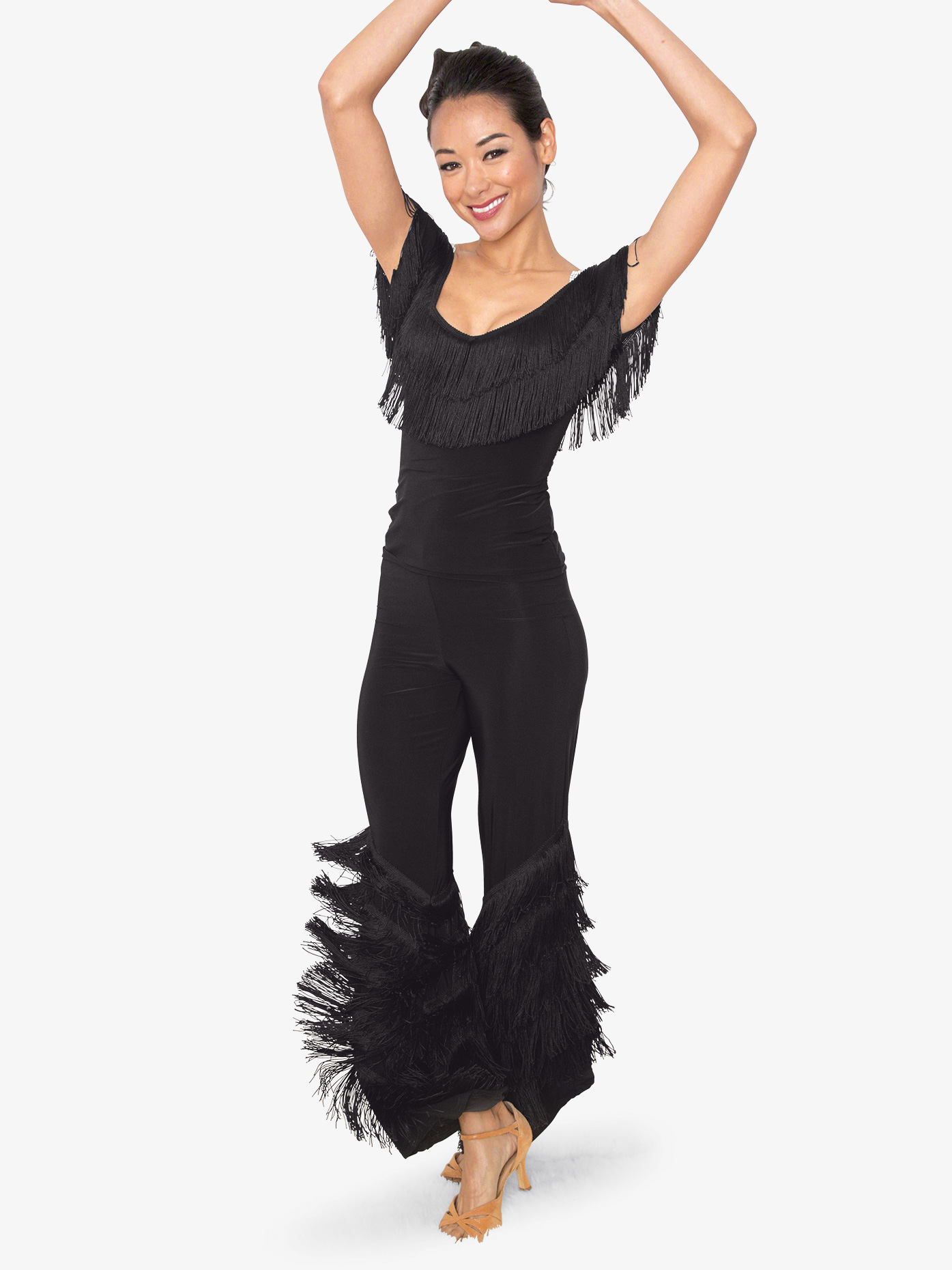 76cf503ad Womens Diagonal Fringe Ballroom Dance Pants - Style No P804. Loading zoom