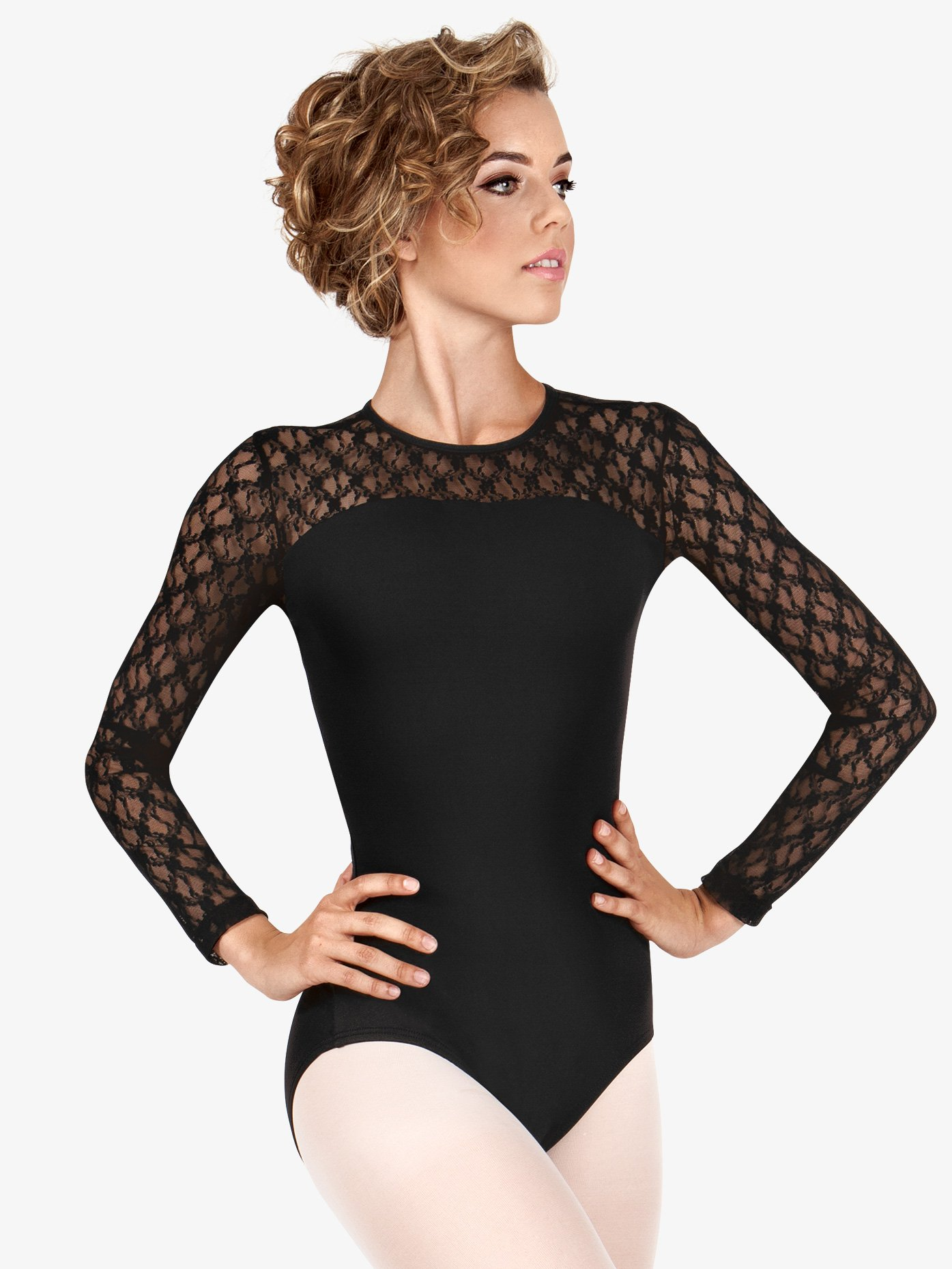 c0da9f95a7bb Womens Lace Long Sleeve Compression Leotard - Style No SIL88200. Loading  zoom