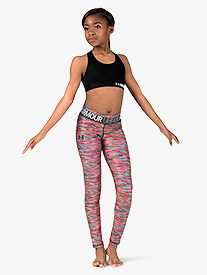 Girls Graphic Print Logo Waistband Workout Leggings