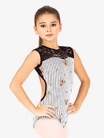 Girls Floral Stripe Tank Leotard