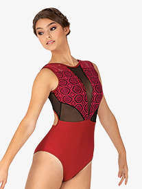 Womens Venda Burgundy Lace Panel Tank Leotard