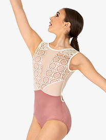 Womens Venda Mauve Lace Panel Tank Leotard