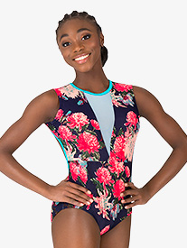Girls Blossom Navy V-Front Tank Leotard