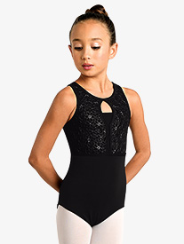 Girls Embroidered Floral Mesh Tank Leotard