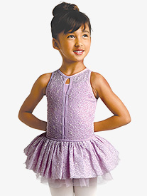 Girls Embroidered Mesh Overlay Tank Ballet Tutu Dress