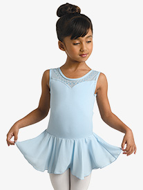 Girls Floral Glitter Print Tank Ballet Dress