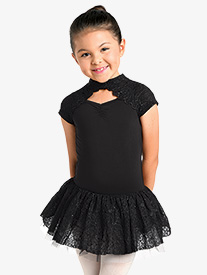Girls Embroidered Bolero Short Sleeve Ballet Tutu Dress
