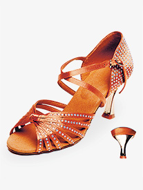 Womens Dark Tan Crystal Ballroom Shoes