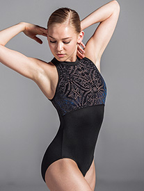 Womens Burnout Velvet Mesh Back Tank Leotard