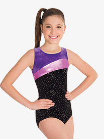 Girls Three-Tone Tank Gymnastics Leotard