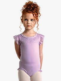 Girls Flutter Lace Short Sleeve Leotard