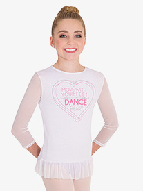 Girls MoveTECH Graphic 3/4 Sleeve Dance Top