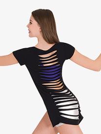 Womens Slashed Back Short Sleeve Dance Crop Top