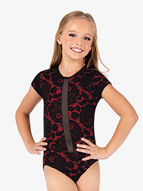 Girls Fire Queen Contrast Lace Short Sleeve Leotard