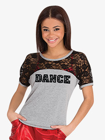 Womens Dance Graphic Lace Short Sleeve Top