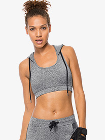 Womens Hooded Compression Bra Top