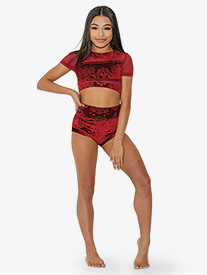 Girls Embossed Velvet High Waist Dance Briefs