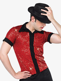 Mens Performance Sequin Short Sleeve Top