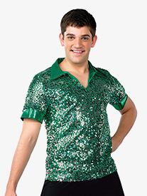 Mens Performance Sequin Mesh Short Sleeve Top