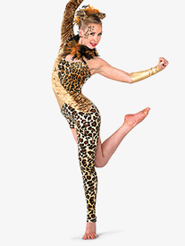 Womens Leopard Asymmetrical Performance Unitard