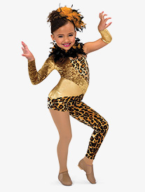 Girls Leopard Asymmetrical Performance Unitard