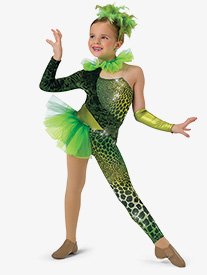 Girls Reptile Asymmetrical Performance Unitard