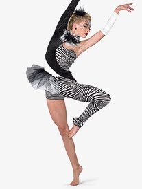 Womens Zebra Asymmetrical Performance Unitard
