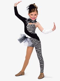 Girls Zebra Asymmetrical Performance Unitard