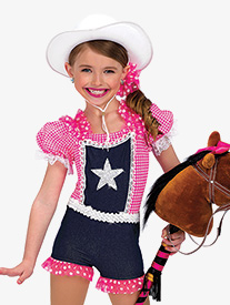 Girls Rodeo Denim Character Dance Shorty Unitard
