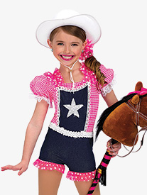 Girls Performance Rodeo Overall Shorty Unitard