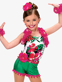 Girls Caribbean Jam Character Dance Costume Halter Leotard