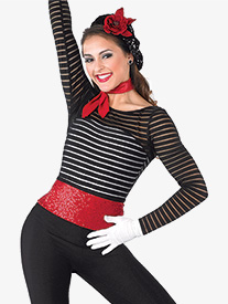 Womens Mime Mambo Striped Mesh Performance Leotard