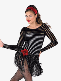 Girls Mime Mambo Striped Mesh Performance Leotard