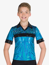 Boys Performance Holographic Sequin Mesh Top