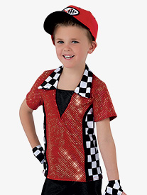 Mens Speed Racer Character Dance Costume Short Sleeve Top