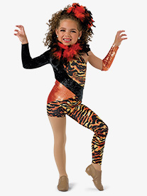 Girls Tigress Asymmetrical Character Dance Unitard