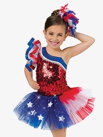 Girls Performance American Pride Sequin Asymmetrical Leotard