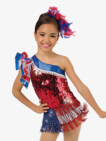 Girls Performance American Pride Fringe Skirt