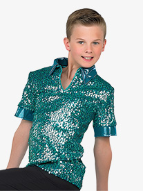 Boys Performance Matte Sequin Short Sleeve Top