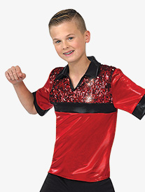 Boys Performance Sequin Short Sleeve Top