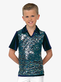 Boys Performance Sequin Mesh Top