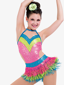 Womens Arriba Fringe Dance Costume Shorty Unitard